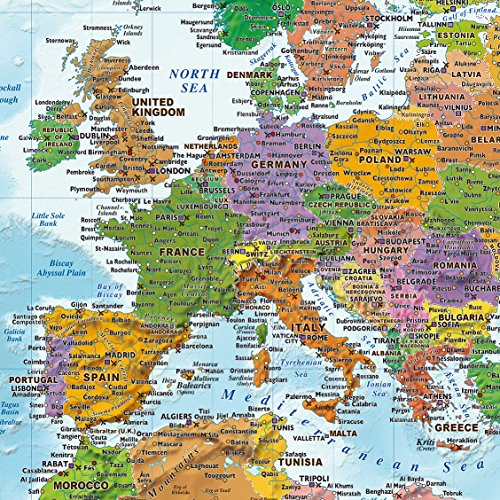 Cartina Mondo Con Bandiere.Close Up Poster Xxl Mappa Del Mondo Con Bandiere Versione 2018 140cm X 100cm Tod Casa