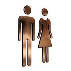 Tocone Acrilico WC Segno Targa Toilette Bagno Porta Targhetta Adesiva Segnaletica Simbolo Uomo e Donna Decorazione Domestica 6,5x20cm