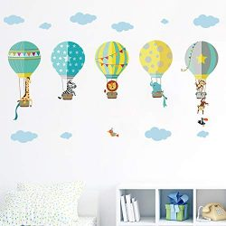 decalmile Mongolfiere con Animali Adesivi da Parete Decorazioni Parete Stickers Murali Camerette Bambini Soggiorno