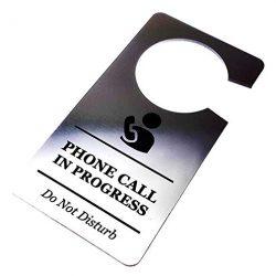 Origine Progettato Phone Call Meeting in Progress do Not Disturb Room Door Sign Argento Acrilico–per Hotel, B & BS e Presenta
