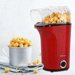 MVPOWER Macchina per Popcorn 1400W, Popcorn Maker Compatta Senza Olio e Grassi, Automatica ad Aria Calda, Pentola Antiaderente, Bocca Larga, Coperchio Rimovibile e Misurino, Senza BPA