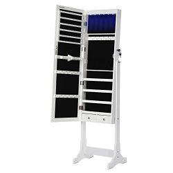 SONGMICS Armadio Portagioie con Luce a LED, Specchiera, Armadietto per Gioielli Bloccabile con Chiavi, 2 Cassetti, Bianco JBC94W