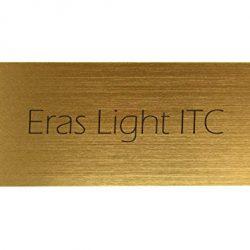 Kopierladen Targa porta con incisione personalizzata, plastica dorata metallizzata, 125 x 45 mm, rettangolare, testo inciso nero, carattere: Eras Light ITC