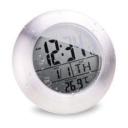 Itian Alluminio Orologio da parete, Alarm Clock Tempo Calendar Termometro,waterproof impermeabile clock per il bagno