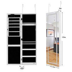 Ezigoo Armadietto portagioie LED – Portagioie da Parete con Specchio Senza Cornice sportello