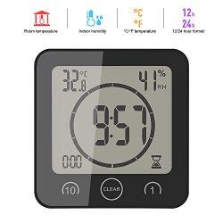 Winbang Orologio da Bagno, LCD Digitale Temperatura umidità umidità Touch Touch Alarm