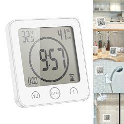 SmartHitech Orologio da Parete per Doccia Digitale, Orologio da Bagno Impermeabile, Timer/Misuratore di Monitoraggio della Temperatura/umidità con Touch Screen LCD 2