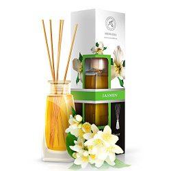 Diffusore Profumato Gelsomino 100ml – con 8 Bastoncini di Bambù – con Olio Essenziale Jasmine – Fragranza Intensa e Duratura – Senza Alcool – Aromatizzatore d'Aria per Interni – Aroma Diffuser