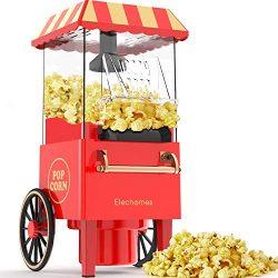 Macchina per Popcorn, Elechomes 1200W ad Aria Calda Versione Retrò con Protezione Dal Surriscaldamento e Controllo Della Temperatura, Senza Olio