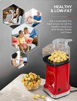 Aicook Macchina pop corn, 1400W Macchina per Popcorn Senza Olio e Grassi, Pentola Antiaderente, Bocca Larga, Coperchio Rimovibile & Misurino, Senza BPA, Rosso 5