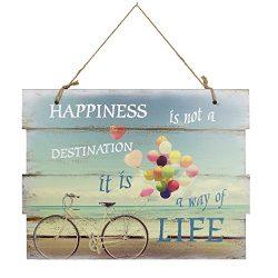 Woodpassion – Targa in legno con cordoncino da appendere, 30 x 40 cm, Legno, Happiness, 30 x 40 cm