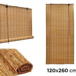 MEDIA WAVE store 202463 Tenda arella Bamboo con carrucola Resistente alle intemperie 120 x 260 cm