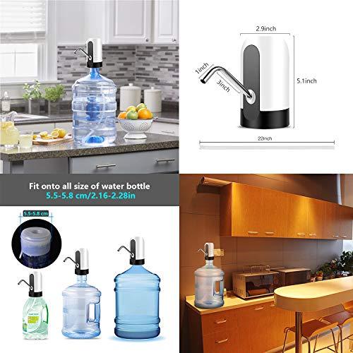 KUCE Dispenser di Acqua USB Rimovibile USB Ricarica Automatica Pompa per Acqua Portatile elettrica Adatta allUso in Acqua Imbottigliata per Home Office di Acqua Potabile Automatica