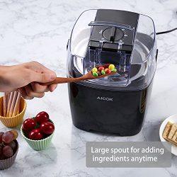 Aicok Macchina del Gelato Gelatiera Frozen Yogurtiera Macchina Yogurt 1.5L con Funzione Timer e Ricetta, Nero 4